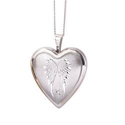 Sterling Silver Wing 20mm Heart Locket
