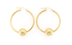 9ct Gold Beaded Hoop - 30mm