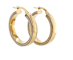 9ct Gold Glitter Edge Hoop Earrings - 20mm