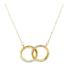 9CT Gold Glitter Duo Circle Necklace - 18