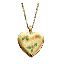 Sterling Silver Gold Plated 24mm Grandma Locket