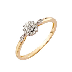 9ct Yellow Gold 0.11ct Diamond Cluster Ring