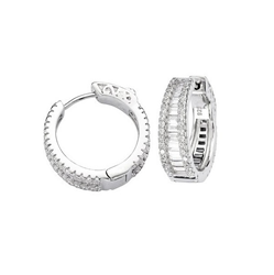 Sterling Silver CZ Hoop Earrings - 21mm