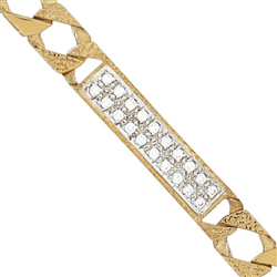 9ct Yellow Gold Kids CZ Plain and Engraved Curb ID Bracelet
