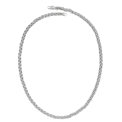 Silver Rhodium Plated CZ Spiga Chain 30
