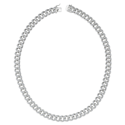Silver Rhodium Plated Heavy Curb CZ Gents Chain 24
