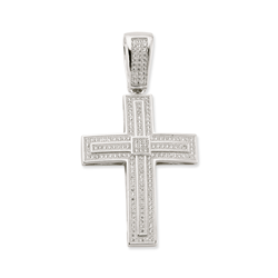 Silver Rhodium Plated Pave CZ Cross Pendant
