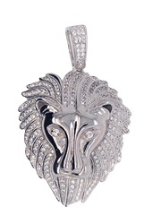 Silver Rhodium Plated CZ Lion Head Pendant