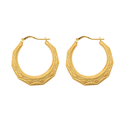 9ct Yellow Gold Round Creole Earrings