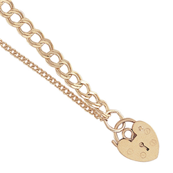 9ct Yellow Gold Kids Double Curb Link Charm Bracelet