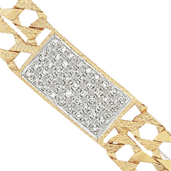 9ct Yellow Gold Kids Plain and Engraved Double Curb CZ ID Bracelet
