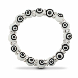 10mm White Evil Eye Brac