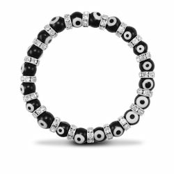 8mm Black Evil Eye Brac
