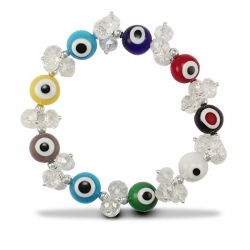 MultiColour Evil Eye Crystal Brac