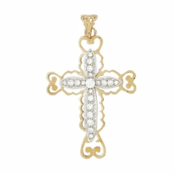 9ct Yellow Gold CZ Filigree Cross Pendant