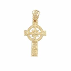 9ct Yellow Gold Engraved Celtic Cross Pendant