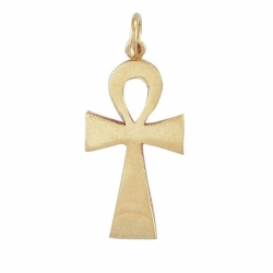 9ct Yellow Gold Plain Polished Ank Cross Pendant