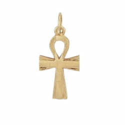 9ct Yellow Gold Plain & Barked Ank Cross Pendant