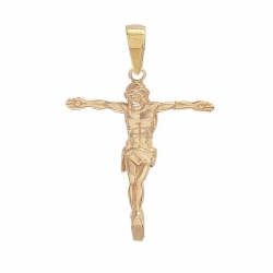 9ct Yellow Gold Crucifix Corpus Cross Pendant