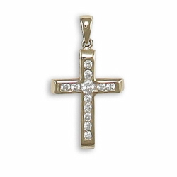 9ct Yellow Channel Set Cross Pendant