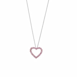 Pink Sapphire Heart Pendant & Chain