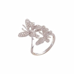 9ct White Gold Diamond Butterfly Ring - M