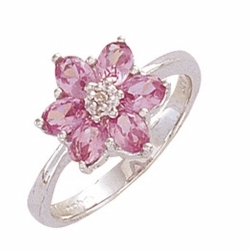 9ct White Gold Diamond & Created Pink Sapphire Flower Ring - N