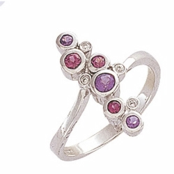 9ct White Gold Diamond, Amethyst & Rhodolite Bubbles Ring