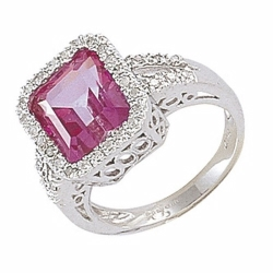 9ct White Gold Diamond and Pink Topaz Emerald Cut Ring