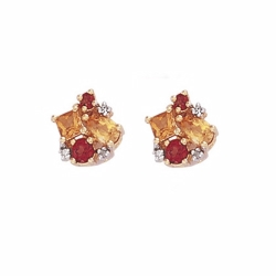 9ct Yellow Gold Diamond, Citrine & Garnet Stud Earrings
