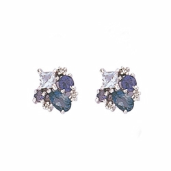 9ct White Gold Diamond, Blue Topaz & Iolite Stud Earrings