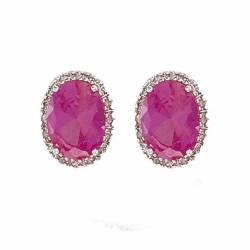 Diamond & Csps Oval Earrings