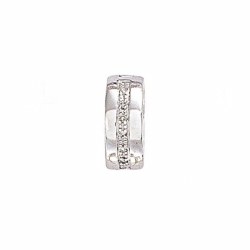 9ct White Gold Diamond Huggie Hoop Earring - Single