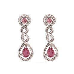 Diamond & Pink Sapphire Twist Drop Earrings