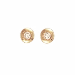 0.30Ct Diamond Rubover Studs Yellow Gold