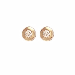 0.20Ct Diamond Rubover Studs Yellow Gold