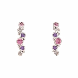 9ct White Gold Diamond, Pink & Purple CZ  Bubbles Earrings