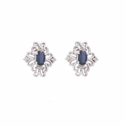 9ct White Gold Diamond & Created Sapphire Filigree Stud Earrings