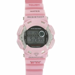 Pink With Black Buttns Km Diamond Watch