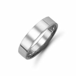5mm Flat Court Wedding Ring Platinum