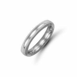 3mm Millgrain Court Wedding Ring Palladium