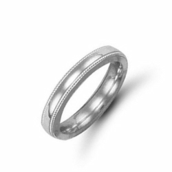 4mm Millgrain Court Wedding Ring Palladium