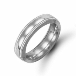 5mm Millgrain Court Wedding Ring Palladium