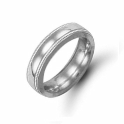 6mm Millgrain Court Wedding Ring Palladium