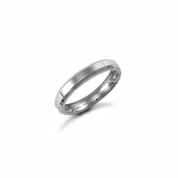 3mm Plain Bevel Wedding Ring 18ct White
