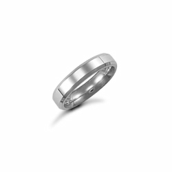 4mm Plain Bevel Wedding Ring 9ct White