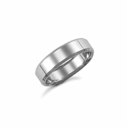 6mm Plain Bevel Wedding Ring 9ct White