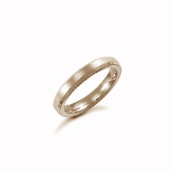 3mm Satin Bevel Wedding Ring 9ct Yellow