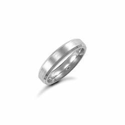 4mm Satin Bevel Wedding Ring 9ct White