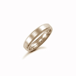 4mm Satin Bevel Wedding Ring 9ct Yellow